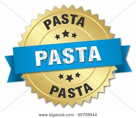 Pasta 3D Gold Badge With Blue Ribbon