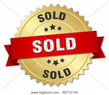 Sold 3D Gold Badge With Red Ribbon