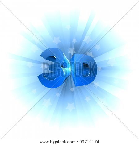 3D video format sign isolated on white background.