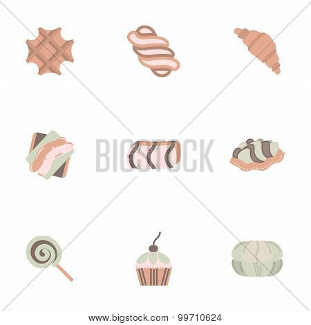 Candy shop flat color vector icons set