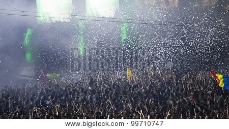 Cluj-Napoca, Romania - August 2, 2015: Crowd of people enjoy Third Party live concert at the Untold Festival in the European Youth Capital city of Cluj Napoca