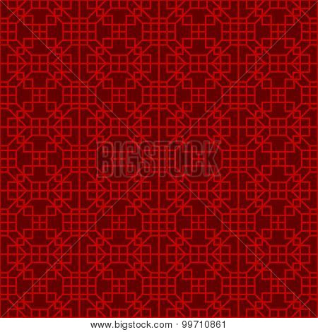Seamless Chinese window tracery lattice square geometry line.