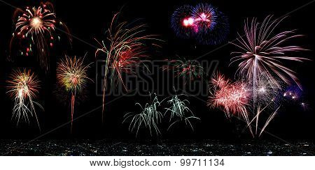 Multicolor Fireworks With Cityscape