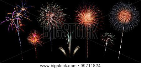 Variety Of Colorful Fireworks Isolated On Black Background