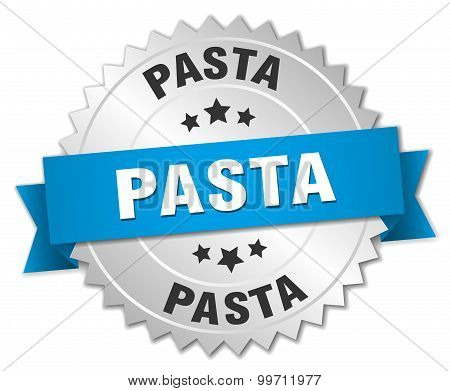 Pasta 3D Silver Badge With Blue Ribbon