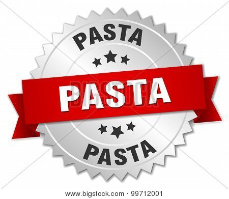 Pasta 3D Silver Badge With Red Ribbon