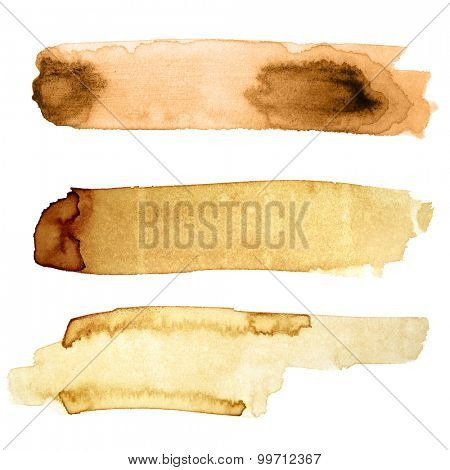 Set of coffee strokes solated on white background  -- space for your own text