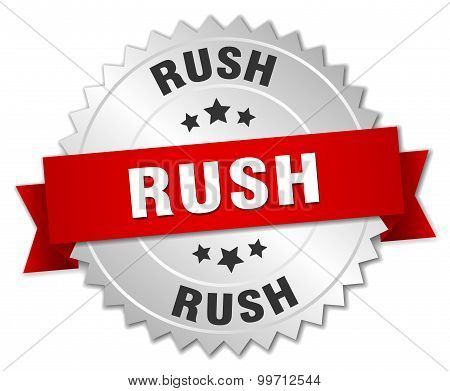 Rush 3D Silver Badge With Red Ribbon