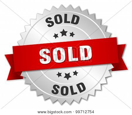 Sold 3D Silver Badge With Red Ribbon