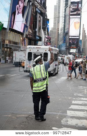 NEW YORK CITY, USA - SEPTEMBER, 2014: Traffic policeman on Times Square New York