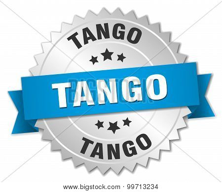 tango 3d silver badge with blue ribbon