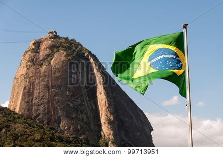 Sugarloaf Mountain and Brazil Flag