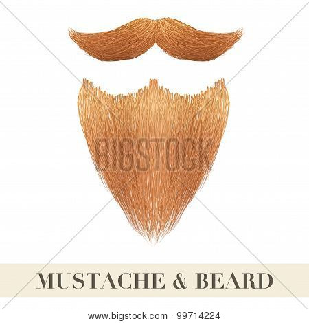 Realistic Ginger Beard With Curly Mustache