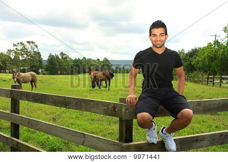 Man Sitting On Th Efence Of A Horse Paddock