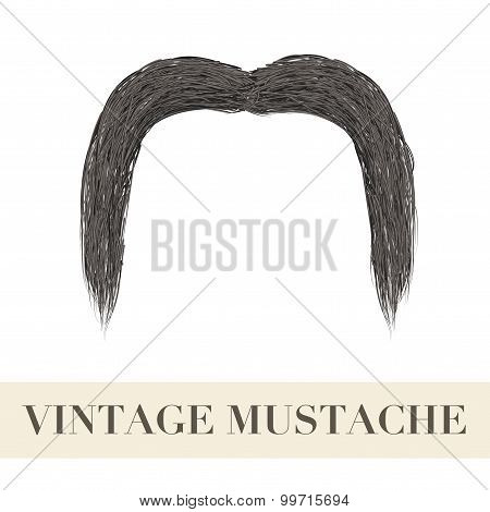 Realistic Black Vintage Drooping Mustache