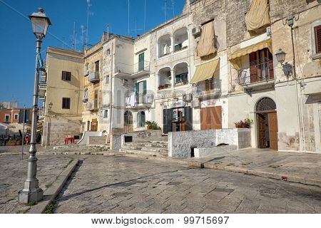 BARI, ITALY - JULY 06: picturesque old houses in Bari Old Town. Shot in 2015