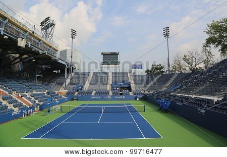 Grandstand Stadium at the Billie Jean King National Tennis Center ready for US Open