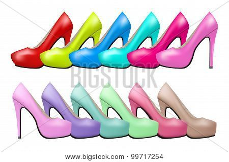 Background of high heels woman shoes