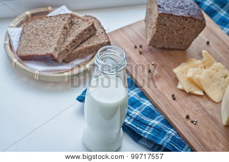 Milk, Cheese And Rye Bread
