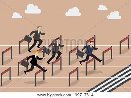 Businessman Race Hurdle Competition