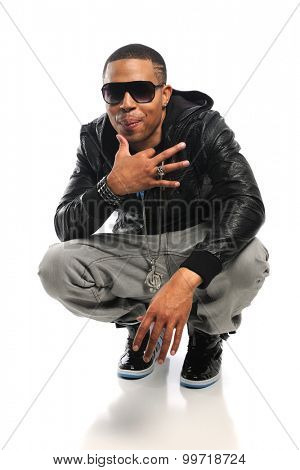 Portrait of African American hip hop artist isolated over white background