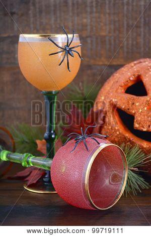 Happy Halloween Table With Jack O Lantern Pumpkin