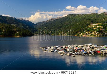 scenic view of marina at Cavado river and Peneda-Geres National Park in northern Portugal.
