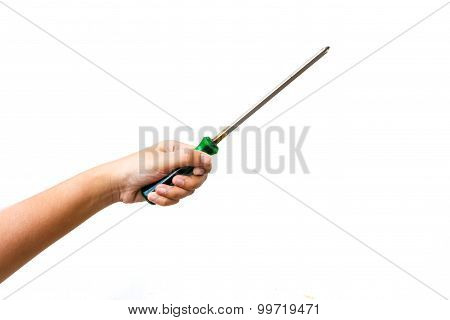 Hand Hold Screwdriver On White Background
