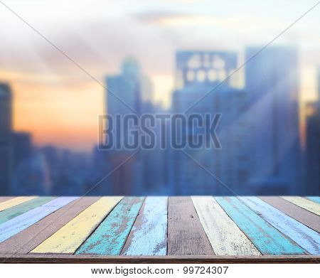 Table Top And Blur Building Background
