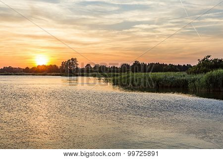 Sunset In Zinnowitz With   Backwater