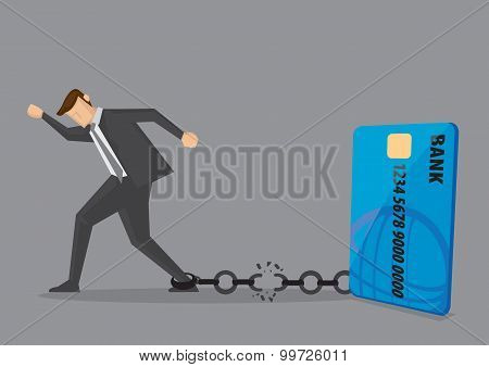 Break Free From Credit Card Debt Conceptual Vector Illustration