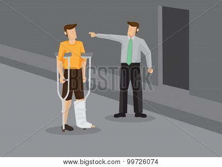 Discrimination Against Injured Employee Conceptual Vector Illustration