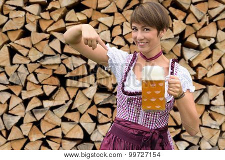Charismatic Young Woman In A Dirndl