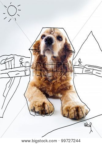 Cute English Cocker Spaniel puppy in front of a white background with house sketch