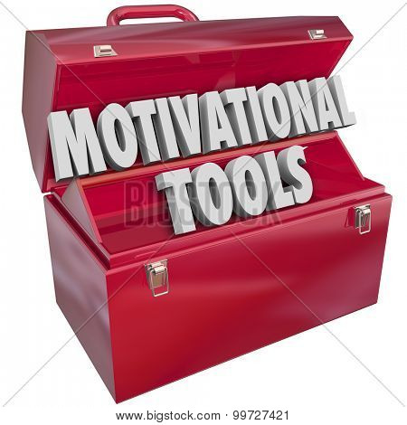 Motivational Tools 3d words in red toolbox to inspire customer or employee loyalty and performance with awards, appreciation and recognition