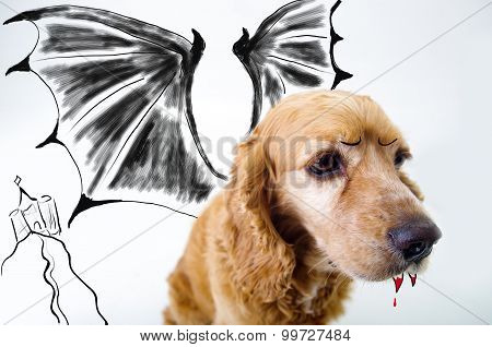 Cute English Cocker Spaniel vampire puppy in front of a white background with bat wings and dracula
