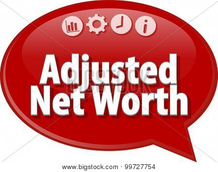 Speech bubble dialog illustration of business term saying Adjusted Net Worth