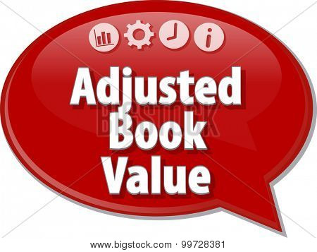 Speech bubble dialog illustration of business term saying Adjusted Book Value