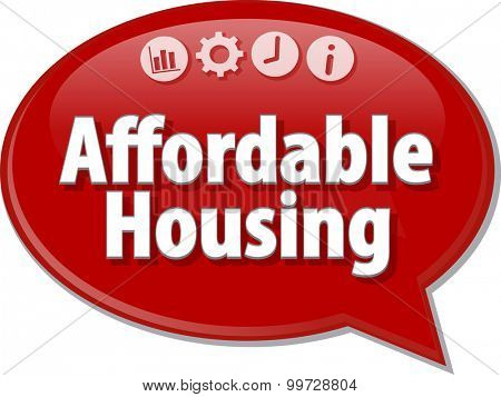 Speech bubble dialog illustration of business term saying affordable housing