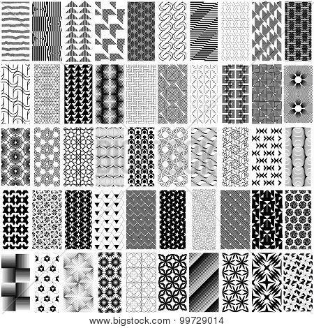 50 Black And White Geometric Seamless Pattern Set.