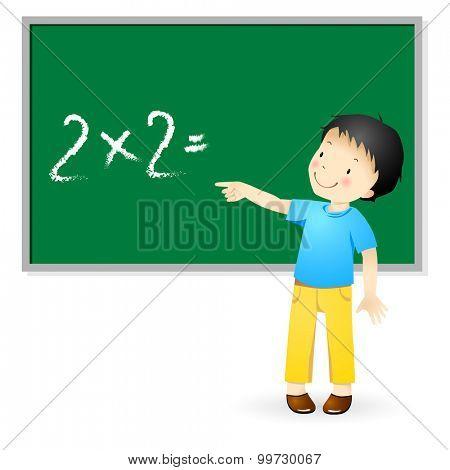 Schoolboy solve a problem.