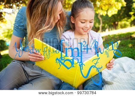 letter and number jumble against happy mother and daughter reading a book