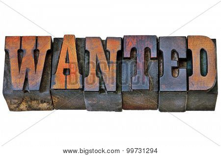 wanted word - isolated text in vintage letterpress wood type - French Clarendon font popular in western movies and memorabilia