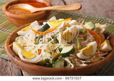 Indonesian Gado-gado Salad Close-up On A Plate. Horizontal
