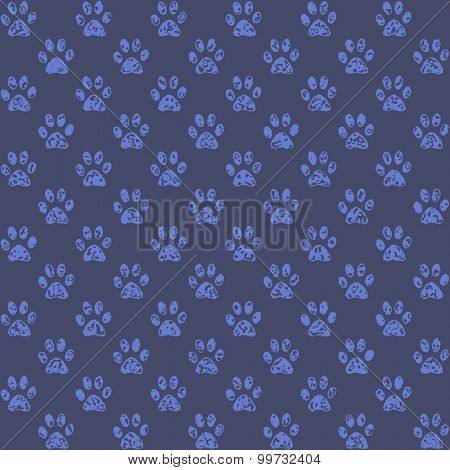 Stamped paw prints in middle blue against darker blue background, a seamless background pattern