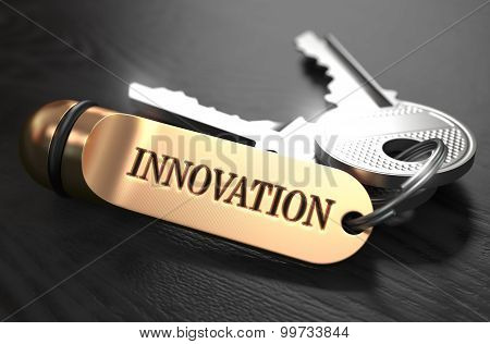 Keys to Innovation. Concept on Golden Keychain.