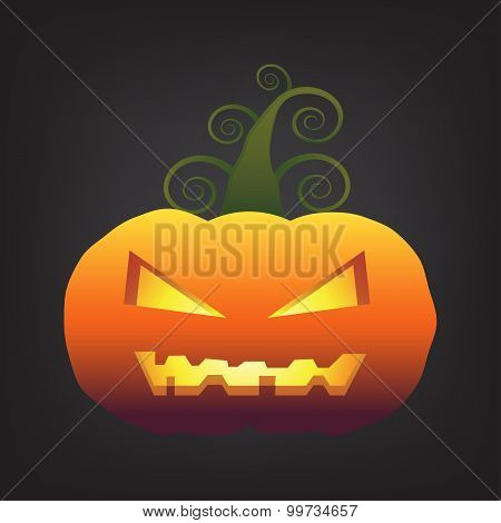 Halloween Pumpkin On Black Background Vector Ilustration.