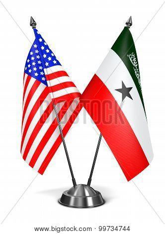 USA and Somaliland - Miniature Flags.
