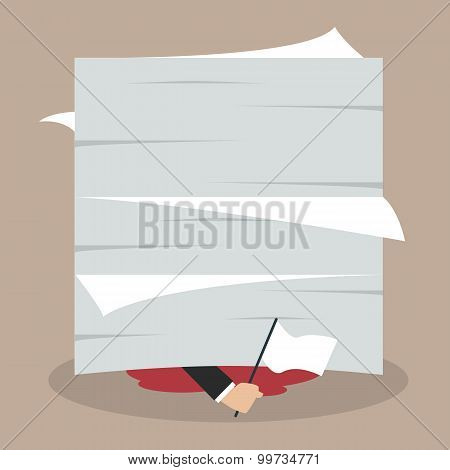 Businessman Surrender Show The White Flag Under A Lot Of Documents