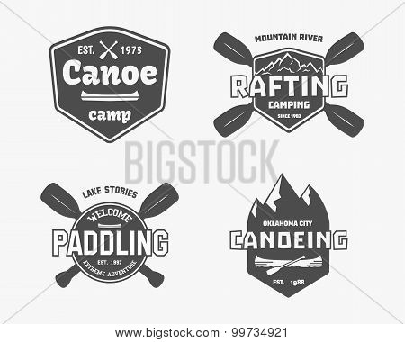 Set of vintage rafting, kayaking, canoeing camp logo, labels and badges. Stylish Monochrome design.